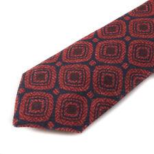 NWT $230 ISAIA NAPOLI 7-Fold Navy-Burgundy Medallion Print Wool and Silk Tie