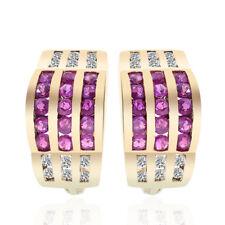 0.90 Carat Ruby & Diamond Hoop Huggy Earrings 14K Yellow Gold