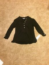 NY Collection Womens Lace Yoke Knit Top Black Size Small NWT