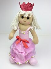 Personalised Handmade Rag Doll With 'Princess' Design 40cm. Great Gift