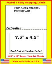 2000 Adhesive Labels w/ Tear off Paper Receipt. Ebay Paypal Laser Ink Jet 2,000
