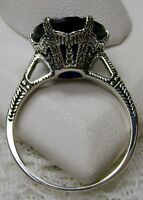 5ct *Sapphire* Sterling Silver Edwardian 1910 Etch Filigree Ring [Made To Order]