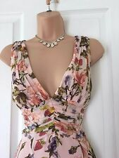 STUNNING KAREN MILLEN FRUIT V NECK SILK DRESS 12