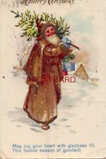 MERRY CHRISTMAS Jolly Santa in brown robe MAY JOY YOUR HEART WITH GLADNESS FILL