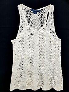 Ralph Lauren Ivory V-Neck Knit Linen Tank Top Size S Women