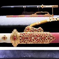 Battle Sword Pattern Steel Heaven Eye Grain Blade 24K gold-plated Fittings #1190