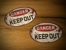 2x Danger Autocollant sticker Keep Out voiture tuning vintage rouille look rat #123