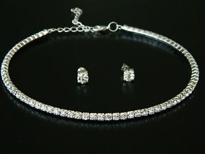 Wedding Bridal Jewellery Set Diamond Shine Rhinestone Choker Earrings Studs S171