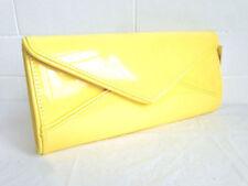 Nuevo Amarillo Brillante patente Noche Bolsa De Embrague Bodas Prom fiesta Correa de hombro