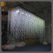Custom Bespoke Large Black Rectangular Crystal Glass Chandelier Light LED 2m
