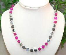 Halskette Würfelkette Perlen Glas crash Polaris Pink grau Hämatit silber  339a