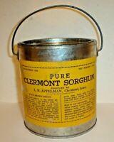 Vintage Pure Clermont Sorghum 5 LB Tin Can / Pail L.H. Appelman Clermont, Iowa C