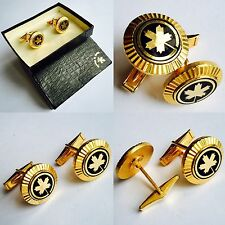 Superb Quality Boxed Gentlemen's 24ct Gold Plated Canadian Maple Leaf Cufflinks