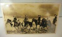 1946 Mesa Arizona Saguaro Lake Ranch RPPC Postcard Misspelled Cowboy Horses