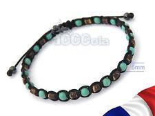 FAIT MAIN BRACELET Homme  Perles en Bois Naturelles Cocotier Turquoise Hématite