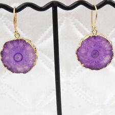 Wedding Party Wear Fancy Drop Earrings Purple Natural Solar Quartz Gold Plated