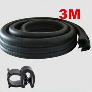 "3M/118"" Seal Strip Car Door Hood Trunk Trim Edge Moulding Rubber Weatherstrip"
