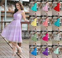 Stock Formal Short Lace Evening Ball Gown Party Prom Bridesmaid Dress Size 6-20