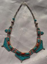 Tibetan Necklace,Boho ,Tribal Jewelry Turquoise Silver Plated,Handmade Nepal