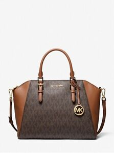 NWT Authentic MK Ciara Large Logo and Leather Satchel