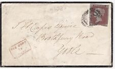 * 1854 MOURNING COVER TO GOOLE RED SMALL BOXED MISSENT TO YORK EX RETFORD =638=