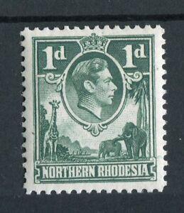 Northern Rhodesia KGVI 1938-52 1d green 'extra boatman' flaw SG28a MNH