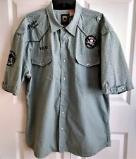 BROOKLYN XPRESS Short Sleeve Rockabilly Pearl Snap Shirt Plaid Patches-Size XXL