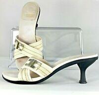 Stuart Weitzman Sandal Women Sz 7.5M White Fabric Kitten Heel Slip On Shoe Spain