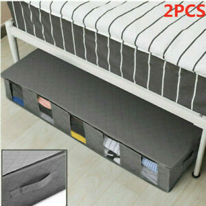 2×Gray Large Capacity Under Bed Storage Bag Box 5 Compartments Clothes Organizer