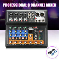 8 Channel Live Studio Audio Mixer USB Mixing Console Karaoke 48v Phantom Power