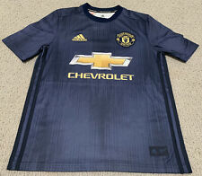 Adidas Manchester United FC Soccer Football Blue Chevrolet Youth L Jersey Shirt