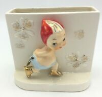 Antique Hand Painted Ceramic Letter Holder Numbered