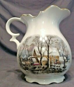 """VINTAGE AVON WINTER COUNTRY SCENE PITCHER 6-1/4"""" TALL, EXCLUSIVE AWARD SET"""