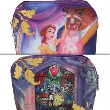 Disney Beauty And The Beast Makeup Bag Cosmetic Belle Stained Glass Gold Foil