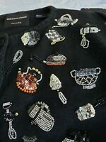 Vintage Michael Simon Beaded Kitchen Appliance Themed Sweater Size Small Rare