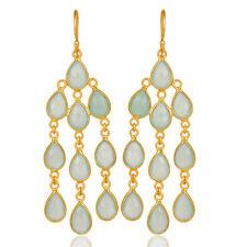 Aqua Chalcedony Dangle Earrings Gemstone 925 Silver Handmade Jewelry