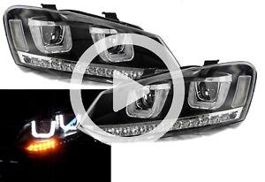 Rhd For VW Polo 6R 6C 2009- Black DRL LED Projector Headlights Dynamic Indicator