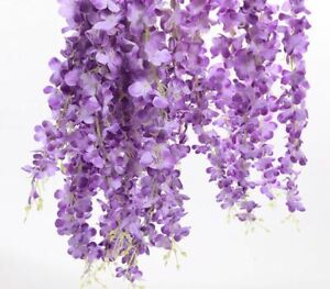 Lot Artificial Flower Garland Wedding Decor Hanging Flowers Cherry Blossom 12Pcs