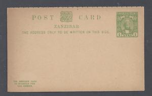 ZANZIBAR  QV POSTAL STATIONERY POST CARD ½ ANNA YELLOW-GREEN UNUSED