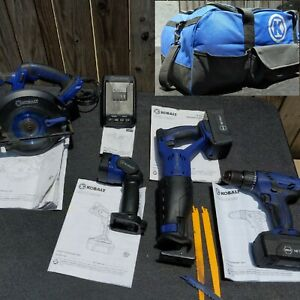 Kobalt 18V Cordless Kit Circular & Reciprocating Saws Light Drill Charger 2 batt