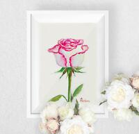 One Rose, Watercolor original, botanical, flower, bouquet,  summer, gift