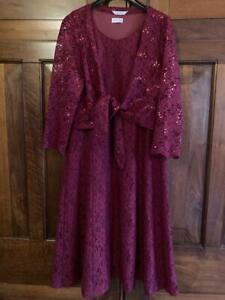 EASTEX Dress Aubergine Lace Sequin Shrug Party Cocktail UK 14 Worn Once