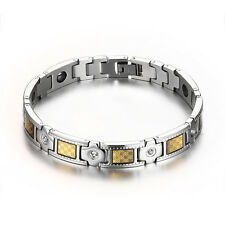 Silver&Gold Titanium Steel Magnetic Health Therapy Care Germanium Mens Bracelet