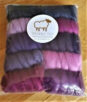250g 100% Pure Merino Wool Tops Roving for felting and spinning.Shades of purple