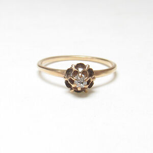 1890s Vintage 14K Yellow Gold 0.06 Ct Mine Cut Diamond Solitaire Ring