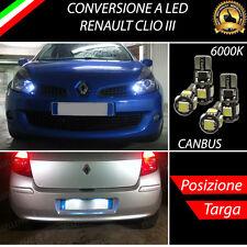 LUCI POSIZIONE A LED + LUCI TARGA A LED CANBUS RENAULT CLIO III NO ERROR
