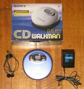 SONY D-EJ611 CD Walkman - Complete In Box - Discman - CD Player - Blue - VGC