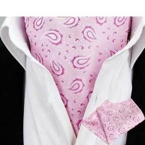 Men Classic Paisley Flower Cravat Ascot Necktie Set Wedding Party Neck Tie Lot