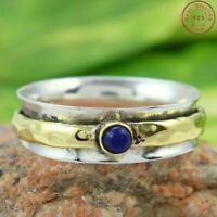 Lapis Lazuli Solid 925 Sterling Silver Spinner Ring Meditation Ring Size Sr20121