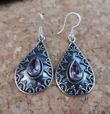 Genuine Pink Kunzite Teardrop Filigree Dangle Earrings 925 Sterling Silver #386